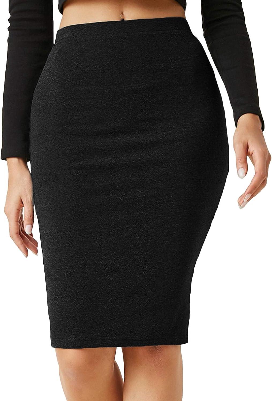 Milumia Women's Basic Stretchy Elastic High Waisted Bodycon Pencil Knee Length Skirt