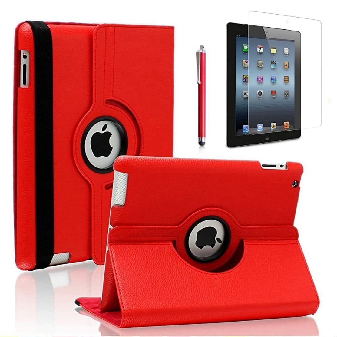 Zeox 360 Degree Rotating PU Leather iPad 4 Case with Screen Protector Cover & Stylus: Multi-angle Stand Folio Cover with Smart Wake Up Sleep for Apple iPad 2/iPad 3/iPad 4 - Red