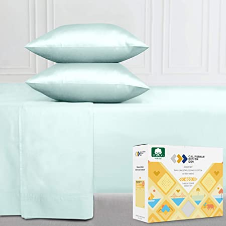 California Design Den Long Staple Combed Pure Natural Cotton Bedding Soft Silky Sateen Weave Queen 4 Pc Sheet Set Seafoam Home Kitchen