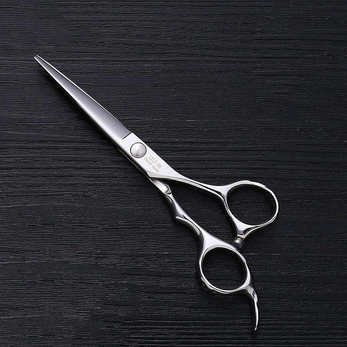 オアシス差別的レベル5.5インチ理髪師プロのヘアカットフラットせん断高品質理髪ツール モデリングツール (色 : Silver)
