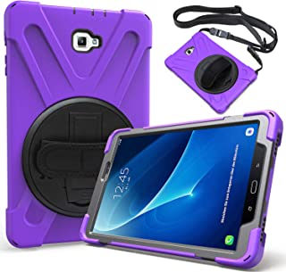 HERIZE Samsung Galaxy Tab A 10.1 Case 2016 W/Rotation Handle Grip,Armor Heavy Duty Rugged Hard Nonslip Protective Case W/Stand,Portable Shoulder Strap,View Vertical & Horizontal Mode(SMT580),Purple