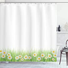 Ambesonne Flower Shower Curtain, Daisies in The Grass on Plain Background Modern Floral Print Country Style, Cloth Fabric Bathroom Decor Set with Hooks, 75 Long, Green White