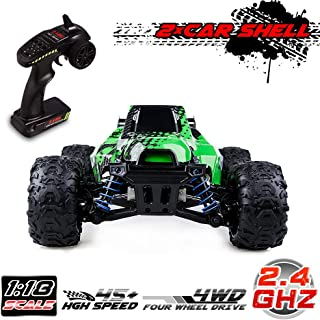 Distianert RC Truck 1/18 Scale Flexible 4WD RC Car for Kids & Adults,2.4GHz Radio Controlled Off-Road Electronic Monster Truck R/C RTR Hobby Grade 45km/h High Speed(with an Extra Shell)