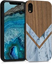 kwmobile Wood Case Compatible with Apple iPhone XR - Non-Slip Natural Solid Hard Wooden Protective Cover - Wood and Marble White/Black/Dark Brown
