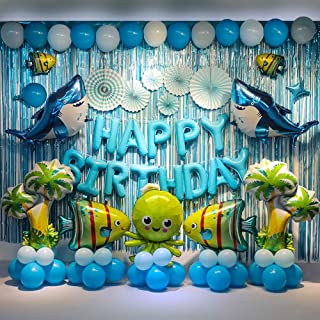 Party Supplies Birthday Party Decorations Blue Backdrop Ocean Theme Birthday Party For Kids Include Shark Balloons, Happy Birthday Banner,Backdrop, Fringe Curtains etc