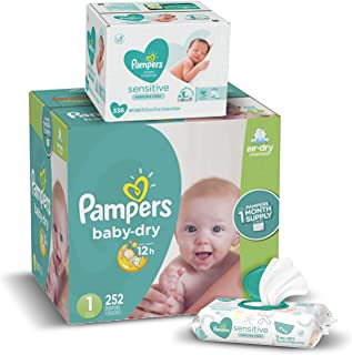 Sponsored Ad - Diapers Newborn / Size 1 (8-14 lb), 252 Count - Pampers Baby Dry Disposable Baby Diapers, ONE MONTH SUPPLY ...
