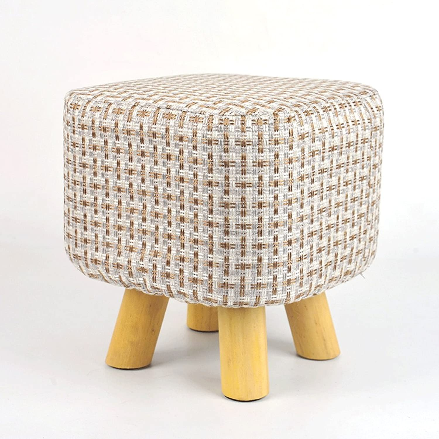 Grid Stool Solid Wood Stool Home Small Bench Fashion Solid Wood Creative Stool shoes Bench Living Room Coffee Table Cloth Stool Small Stool Creative Small Stool
