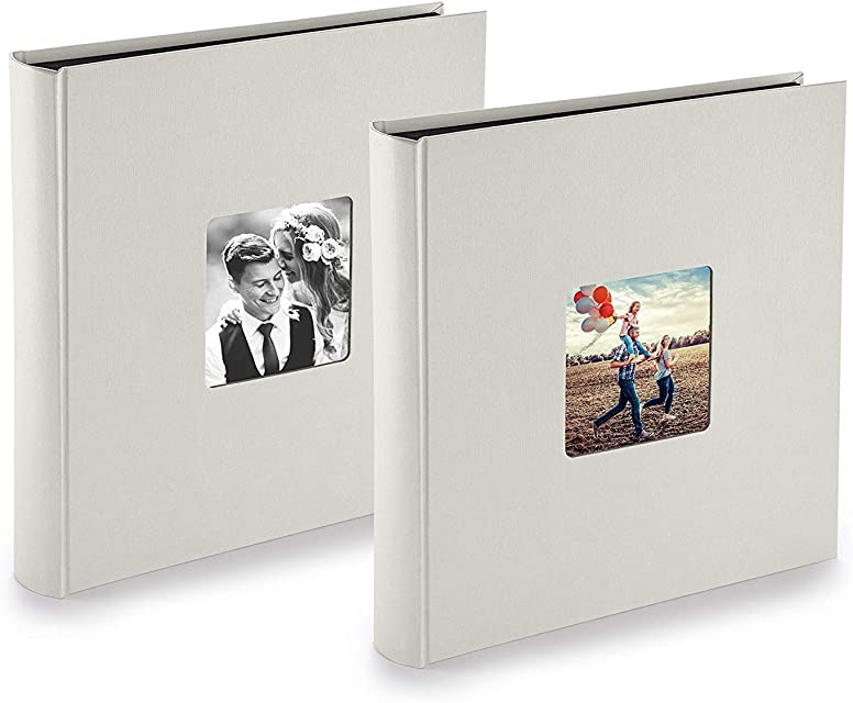 PAZZiMO Álbum de fotos para pegar gris tiza pack de 2 álbum de fotos 30x30 cm XXL para 400 fotos con papel de pergamino álbum fotos 10x15 con ventana en la portada