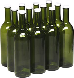 North Mountain Supply 750ml Champagne Green Glass Bordeaux Wine Bottle Flat-Bottomed Screw-Top Finish - with 28mm White Metal Lids - Case of 12