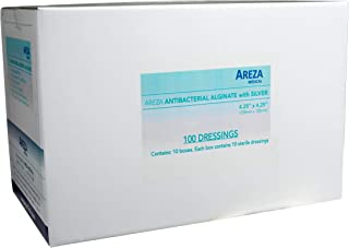 "Silver Alginate (Antibacterial alginate with Silver) 4.25"" X 4.25"" Box of 10 Wound Dressings (10) (100 DRESSINGS); by Arez..."