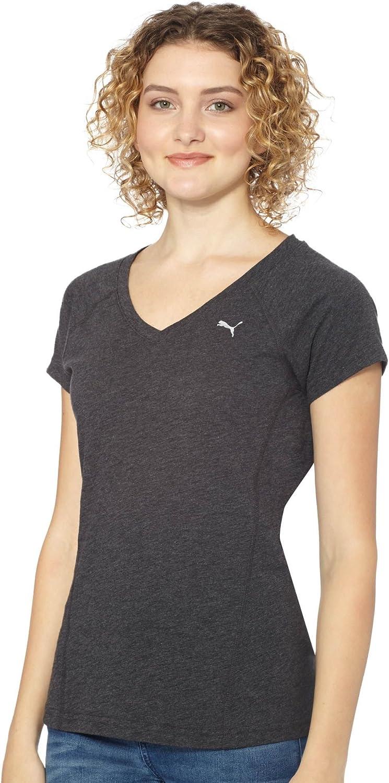 PUMA Women's Active Forever V-Neck T-Shirt, Dark Gray Heather, Large