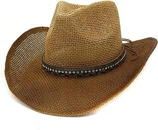 XinLin Du Men Women Spray Paint Straw Cowboy Hat Outdoor Beach Hat Belt Diamond Decoration Sun Hat