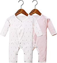Aautoo Newborn Baby Pajamas Sets Sleep and Play Infant Sleeper Cozy 100% Cotton Baby Outfits One-Piece Romper 0-3 Month White Pink