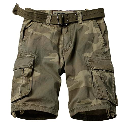 14cf3ee3bc AKARMY Men's Multi Pocket Loose Fit Cotton Twill Cargo Shorts