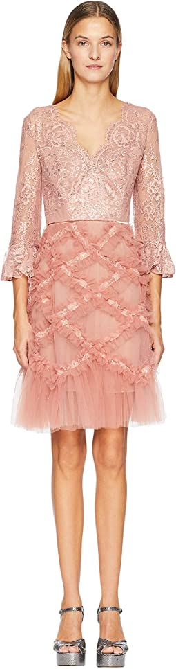 3/4 Sleeve V-Neck Lattice Cocktail Dress