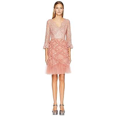 Marchesa Notte 3/4 Sleeve V-Neck Lattice Cocktail Dress (Blush Pink) Women