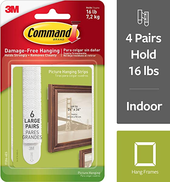 Command 16 Lb Large White Picture Hanging Strips 6 Pairs 12 Strips Indoor Use Decorate Damage Free 17206 6ES