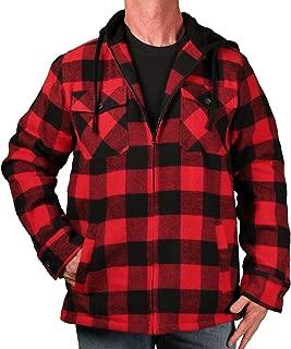 Burnside Men's Sherpa-Lined Hooded Buffalo Plaid Zip-Front Flannel
