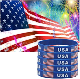 JDXN 5-10 Pcs USA American Flag Day Silicone Rubber Bracelets Wristbands Fitness Sport United States