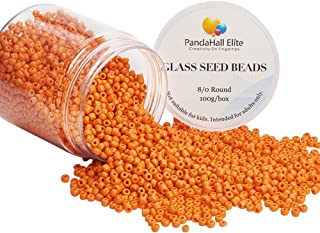 PandaHall Elite About 2000 Pcs 8/0 Glass Seed Beads Opaque Orange Round Pony Bead Mini Spacer Beads Diameter 3mm for Jewelry Making