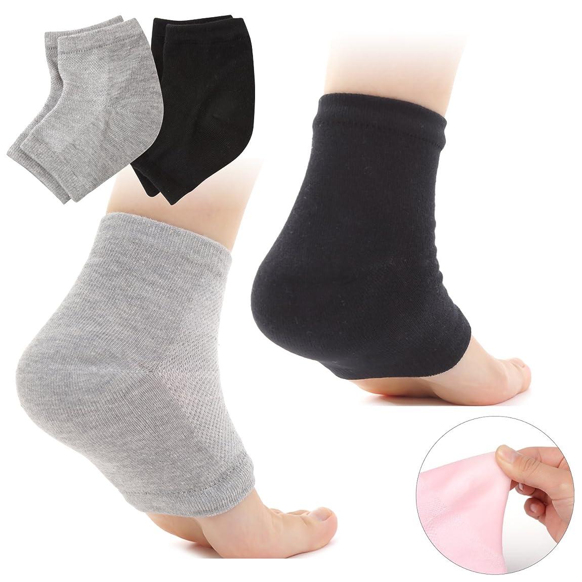 パプアニューギニアコーラス神経Muiles かかと 靴下 ソックス 角質取り 保湿 ひび割れ かかとケア レディース メンズ 男女兼用【1足~3足】(2足セット グレー、ブラック)