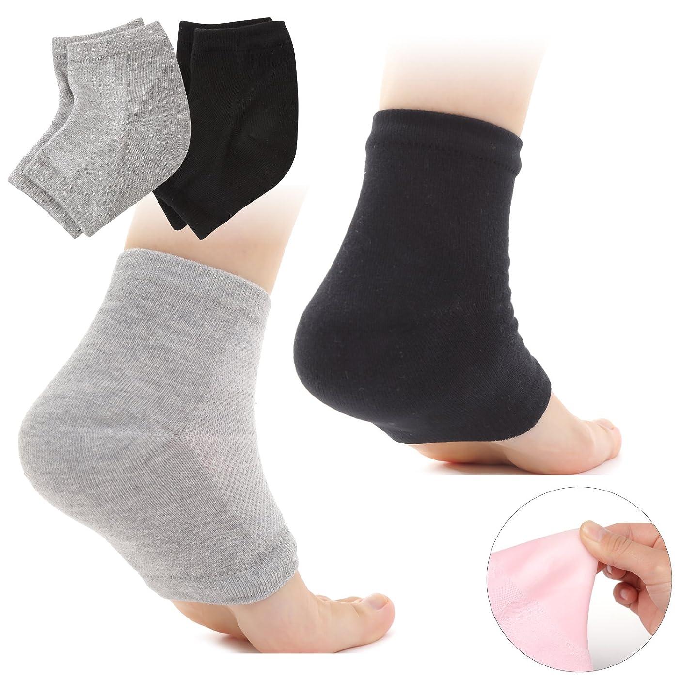 冊子リンス優先権Muiles かかと 靴下 ソックス 角質取り 保湿 ひび割れ かかとケア レディース メンズ 男女兼用【1足~3足】(2足セット グレー、ブラック)