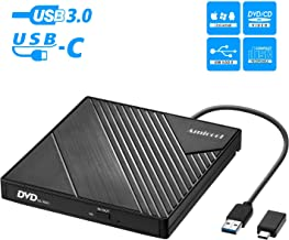 External DVD Drive USB 3.0 USB C CD Burner Amicool CD/DVD +/-RW Optical Drive,Slim..