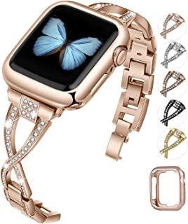 JFdragon Watch Bands Compatible with Apple Watch 38mm 40mm 42mm 44mm SE Series 6 5 4 3 2 1 Women Jewelry Metal Wristband Strap with Bling Diamond Replacement Bracelet (Rose Gold, 38mm/40mm)