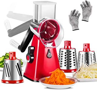 Cheese Grater 3 in 1 Veggie Chopper Rotary Drum Grater with 3 Stainless Steel Drums Vegetable Slicer Cheese Cutter for Kit...
