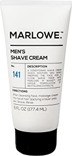 MARLOWE. Shave Cream with Shea Butter & Coconut Oil No. 141 6 oz | Natural Shaving Better than Gel | Men and Women | Light...