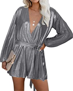 Sequin Rompers for Women Long Sleeve Jumpsuits Casual V...
