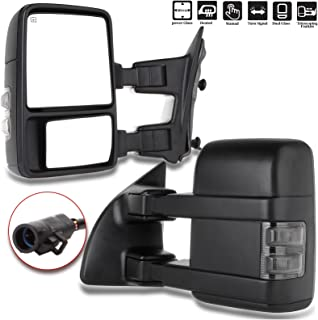 ECCPP Towing Mirror by Side Mirror Replacement for 1999-2007 Ford F250 F350 F450 F550 Super Duty with Power Heated Smoke Turn Signal Telescopic