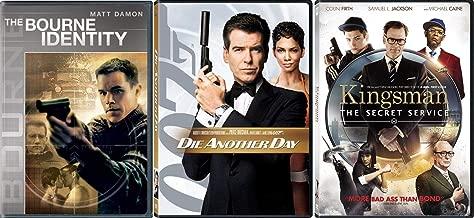Agents Unite Another Day Die James Bond / Kingsmen Secret Service / Jason Bourne Identity Matt Damon Triple Action Spy Movie DVD Pack
