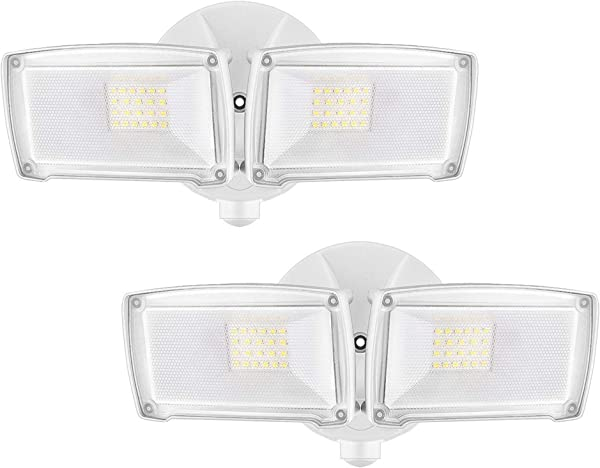 LEPOWER 2500LM 2 Pack LED Security Light 22W Super Bright Outdoor Flood Light ETL Certified 5500K IP65 Waterproof 2 Adjustable Heads For Entryways Stairs Yard And Garage White Light