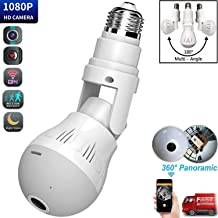 Bulb Camera 360 Degree WiFi 1080P HD Smart Security Surveillance Small Camera with IR Motion Detection Night Vision Two-Way Communication for Home Baby Pets