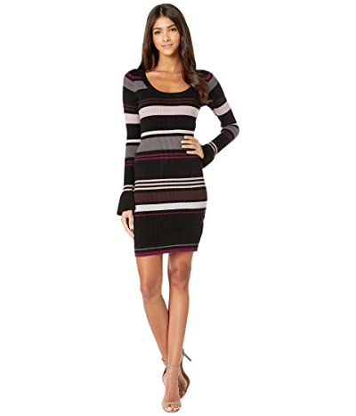 Cupcakes and Cashmere Cosette Striped Rib Knit Sweater Dress (Black) Women
