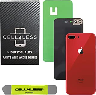 Cell4less Back Glass Cover OEM Battery Door Replacement w/Adhesive, Installed Camera Frame w/Lens & Removal Tool for Apple iPhone 8 Plus (Product Red 8+)