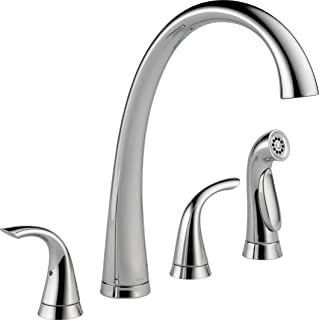 Delta Faucet Pilar 2-Handle Widespread Kitchen Sink Faucet with Side Sprayer in Matching Finish, Chrome 2480-DST