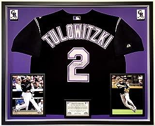 Premium Framed Troy Tulowitzki Autographed/Signed Colorado Rockies Majestic Jersey - JSA COA