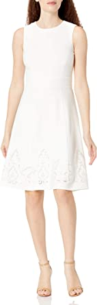 Calvin Klein Women's Petite Sleeveless Floral Embroidered Fit and Flare Dress
