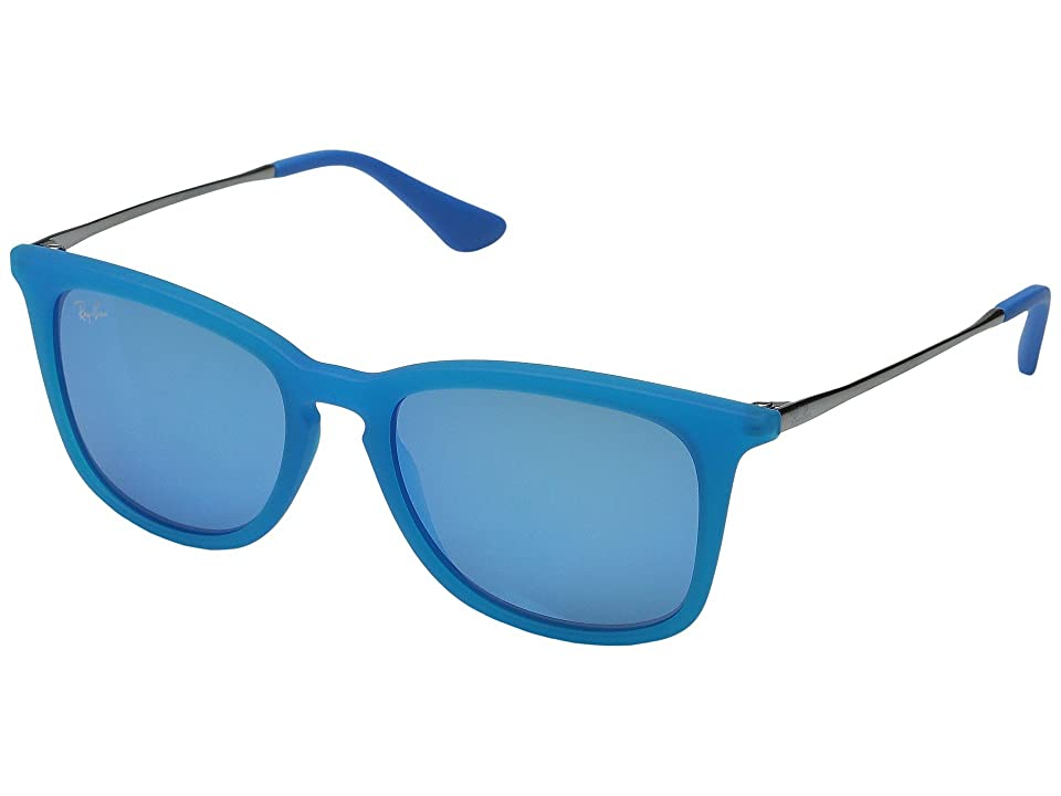 Ray-Ban Junior RJ9063S 48mm (Youth) (Blue Transparent Rubber/Gunmetal/Light Green Mirror Blue) Fashion Sunglasses