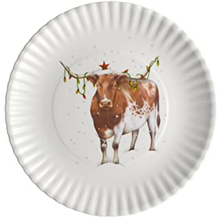 Christmas Longhorn Steer 9-inch Melamine Plates, Set of 4