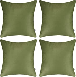 4-Pack 100% Cotton Comfortable Solid Decorative Throw Pillow Case Square Cushion Cover Pillowcase(Cover Only,No Insert)(18x18 inch/ 45x45cm,Olive Green)