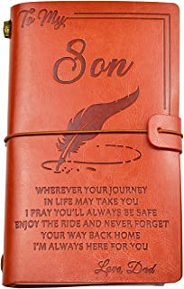 To My Son Leather Journal from Dad - Enjoy the Ride and Never Forget the Way Home Notebook - 136 Page Travel Diary Journal...