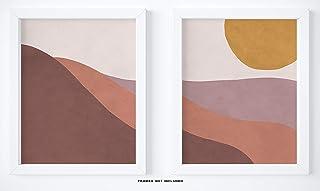 "Abstract Geometric Sunrise And Sunset Mountain Wall Art Print - Set Of 2-11x14"" UNFRAMED Prints - Earthy Landscape Wall Decor - Scandinavian, Nordic, Mid Century Modern Decor"