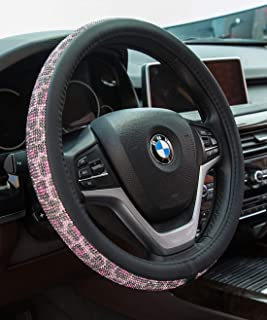 Crystal Diamond Steering Wheel Cover, PU Leather with Colorful Leopard Bling Bling Rhinestones, Universal 15inch / 38cm for Women Girls, Pink