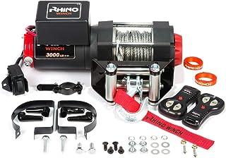 Rhino - Cabrestante eléctrico (carbono, 12 V, 2 mandos a distancia inalámbricos), color negro