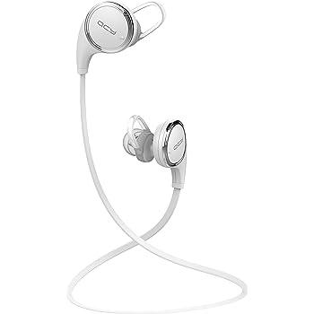 QCY QY8 Bluetooth イヤホン ワイヤレスイヤホン マイク内蔵 ハンズフリー 通話 APT-X CSR 8645 CVC6.0 ノイズキャンセリング 防水 防汗 高音質 スポーツイヤホン ホワイト QCY-QY8WH