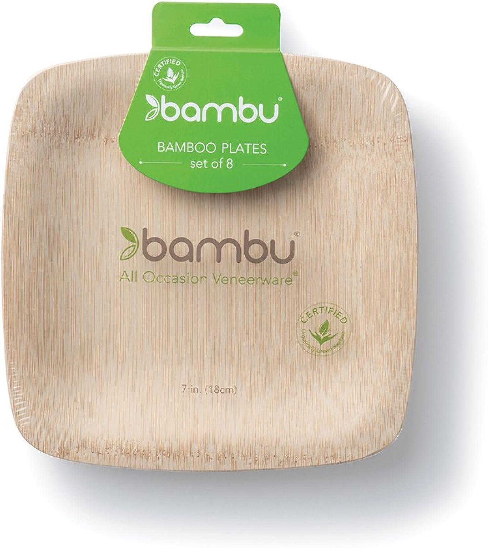 Bambu Veneerware 8Pack 7Inch Square Plates