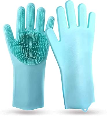 BeatStock, Magic Silicone Scrubbing Gloves, Scrub Cleaning Gloves with Scrubber for Dishwashing and Pet Grooming, Latex Free (Colour May be Vary on Stock Availability)